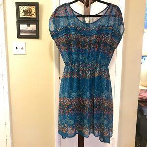 Mossimo Supply Co. Dresses - Mossimo Blue Summer Print Dress Elastic Waist